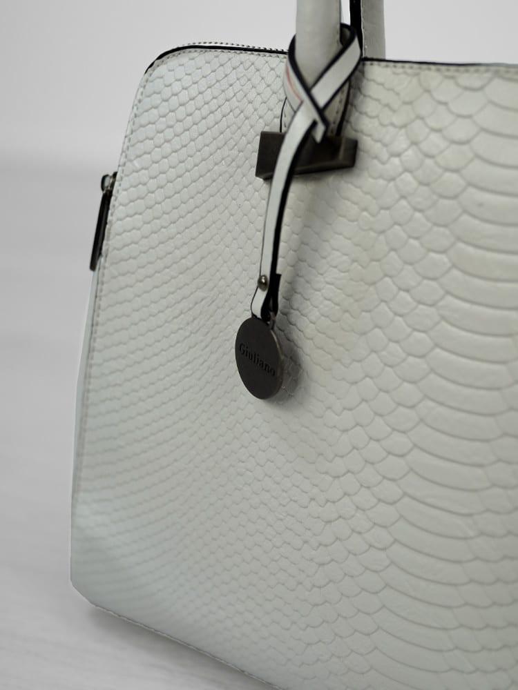 Witte tas met detail schubben