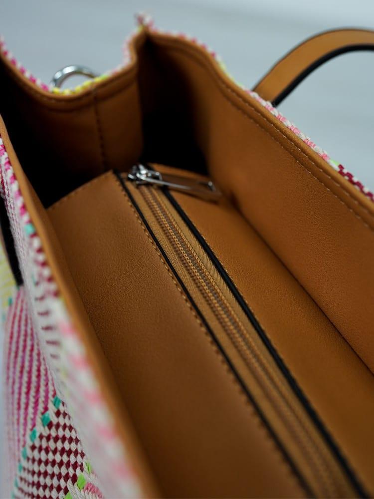 leren shopper met roze details