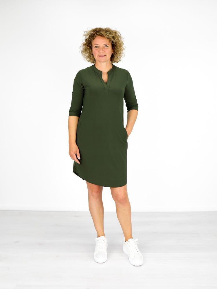 jurk met v-hals donkergroen