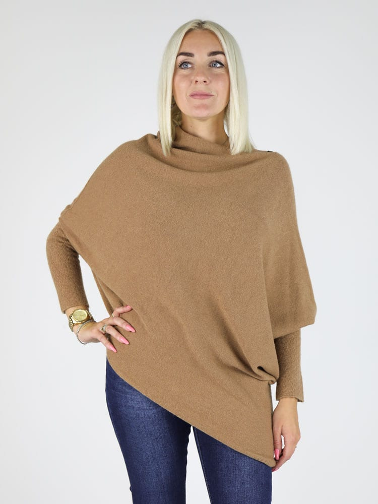 Asymmetrische trui camel G.Ricceri Fashion to Fashion