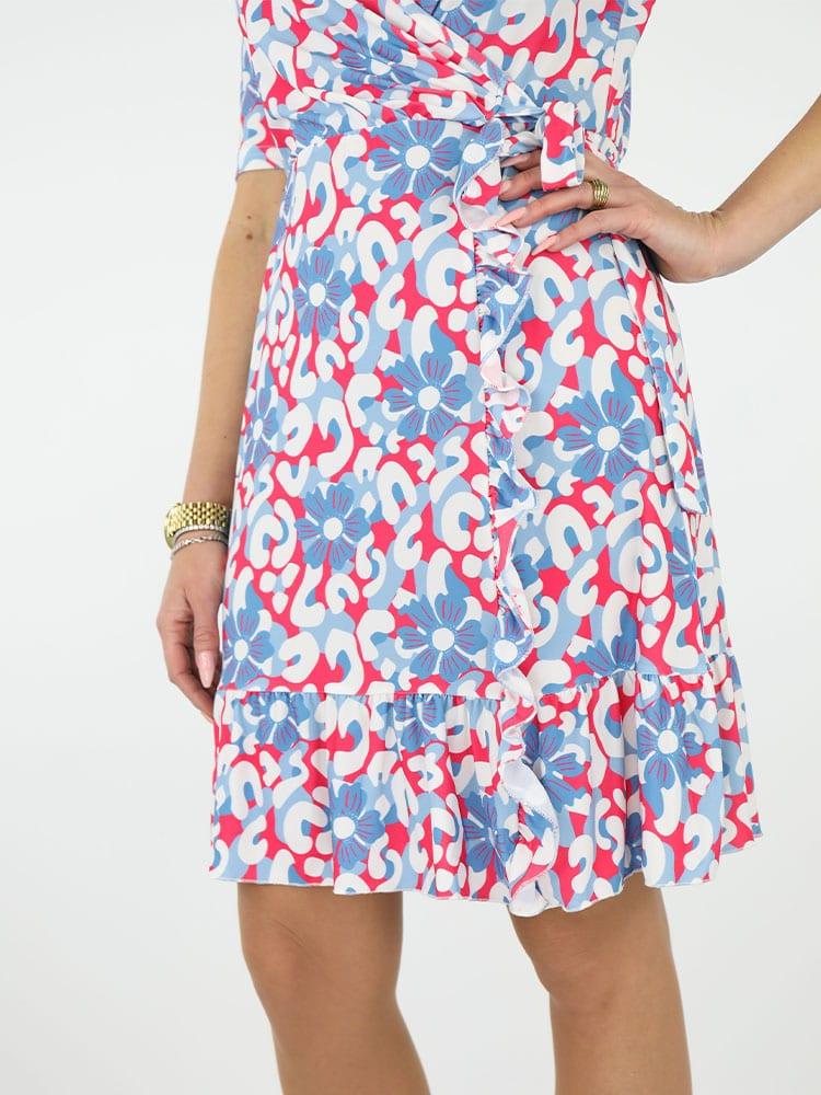 travelstof jurk angelle milan bloemenprint blauw onder