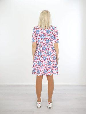 travelstof jurk angelle milan bloemenprint blauw achter1