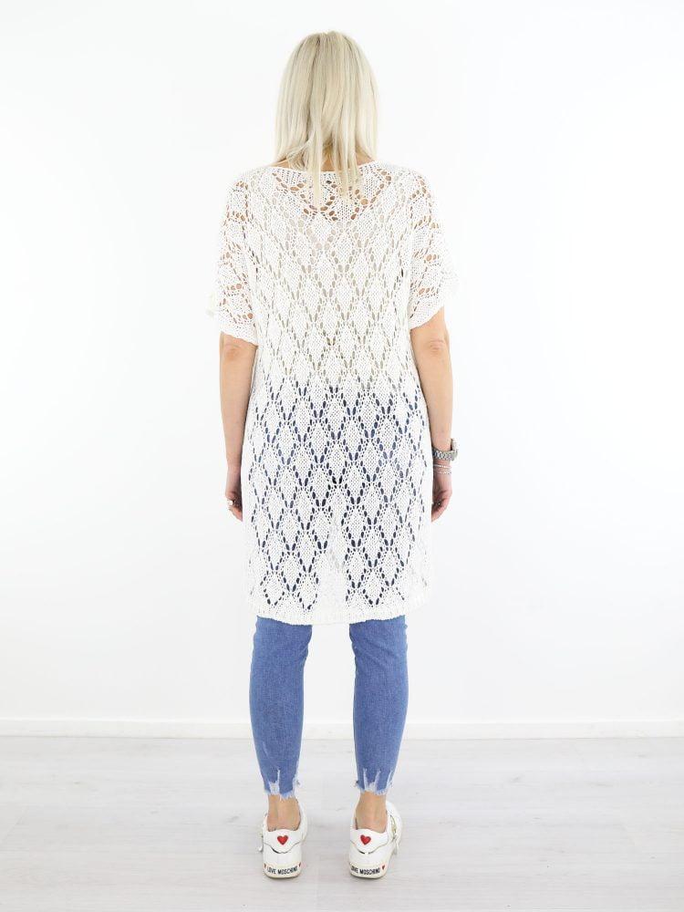Open gehaakte trui met split in roomwit