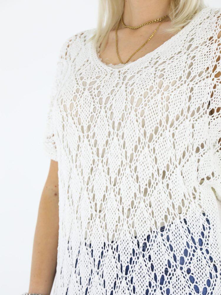 Roomwitte open gehaakte trui met split