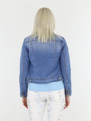 korte spijker jas in blauw met borstzakken