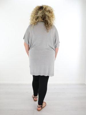 grijs zacht geweven linnen shirt plus size