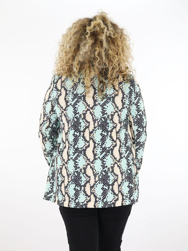 plus-size-blazer-in-groen-en-beige-met-slangenprint