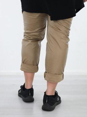 Beige-goude-kleur-PU-broek-plus-size