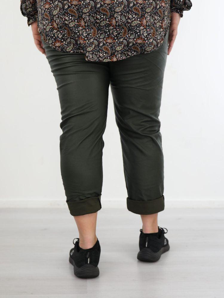 Plus-size-PU-broek-groene-kleur
