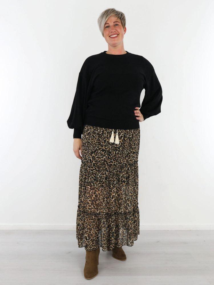 beige-zwarte-lange-rok-met-leopardprint-en-touwtjes-g-ricceri