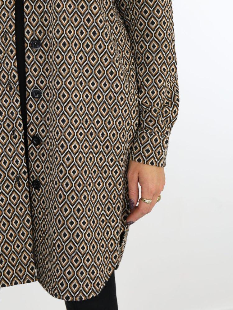 blouse-lang-angelle-milan-zwartbeige-honingraatprint