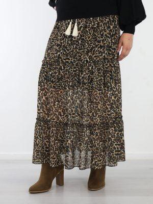 g-ricceri-lange-rok-met-een-beige-zwarte-leopardprint-en-touwen