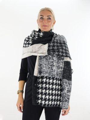 beige-zwarte-sjaal-met-pied-de-poul-print