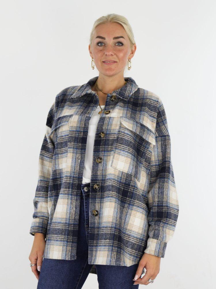 houthakkers-blouse-in-beige-met-blauwe-kleuren-en-borstzakken